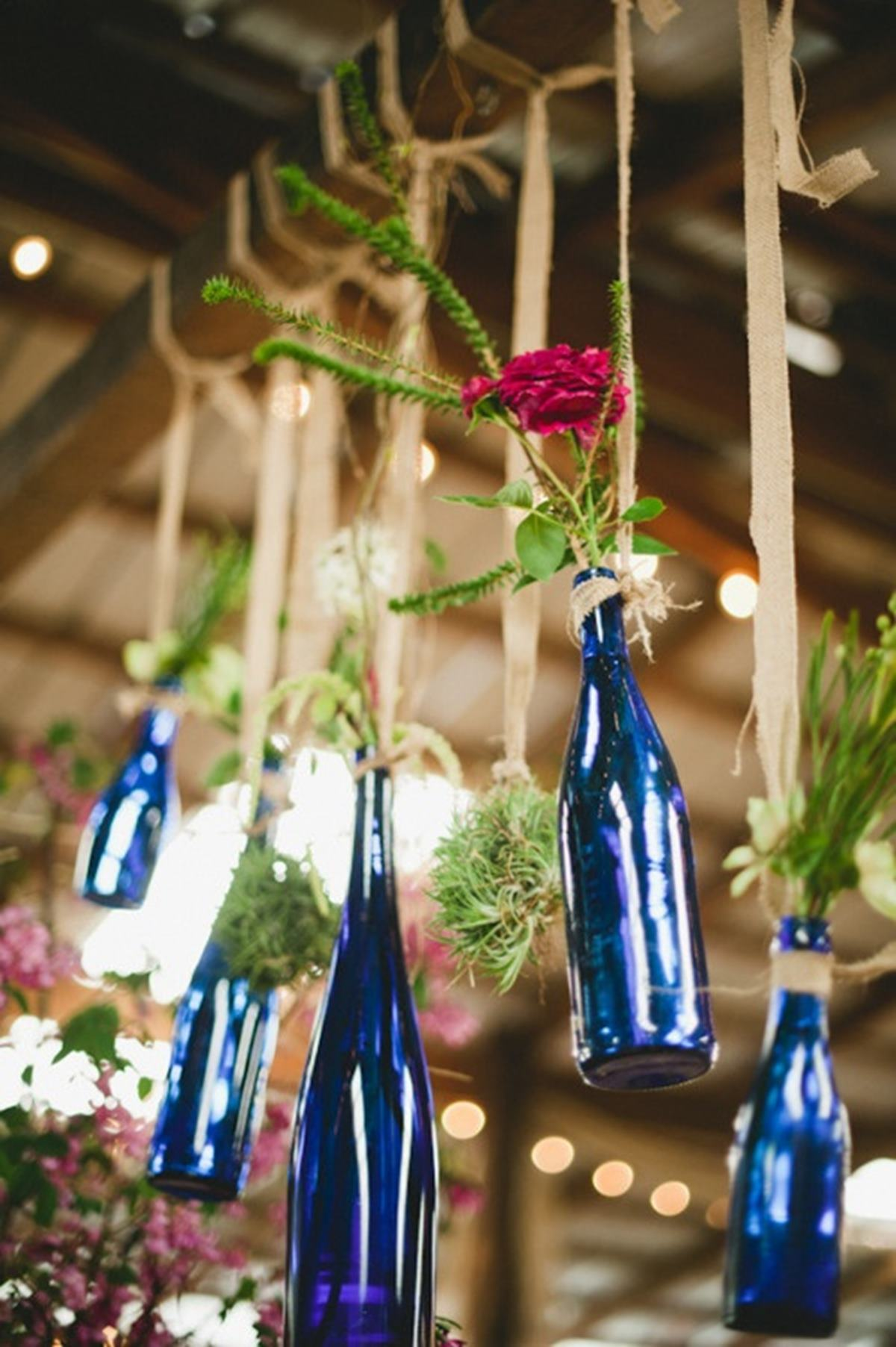 These blue bottle-vases