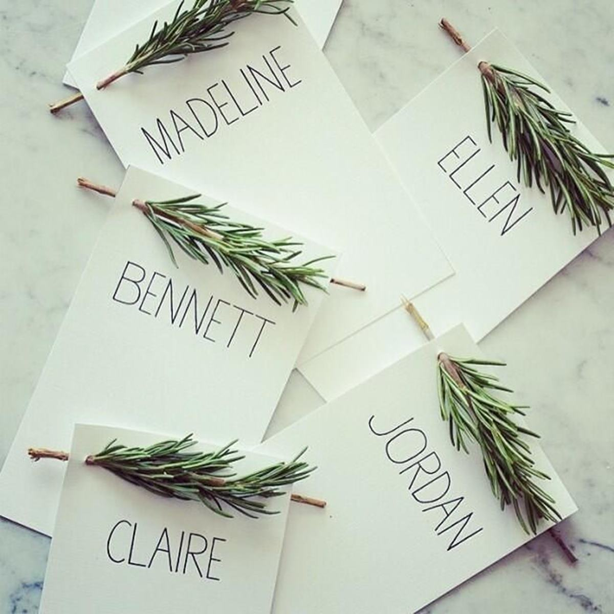 Cheap rosemary threaded name cards