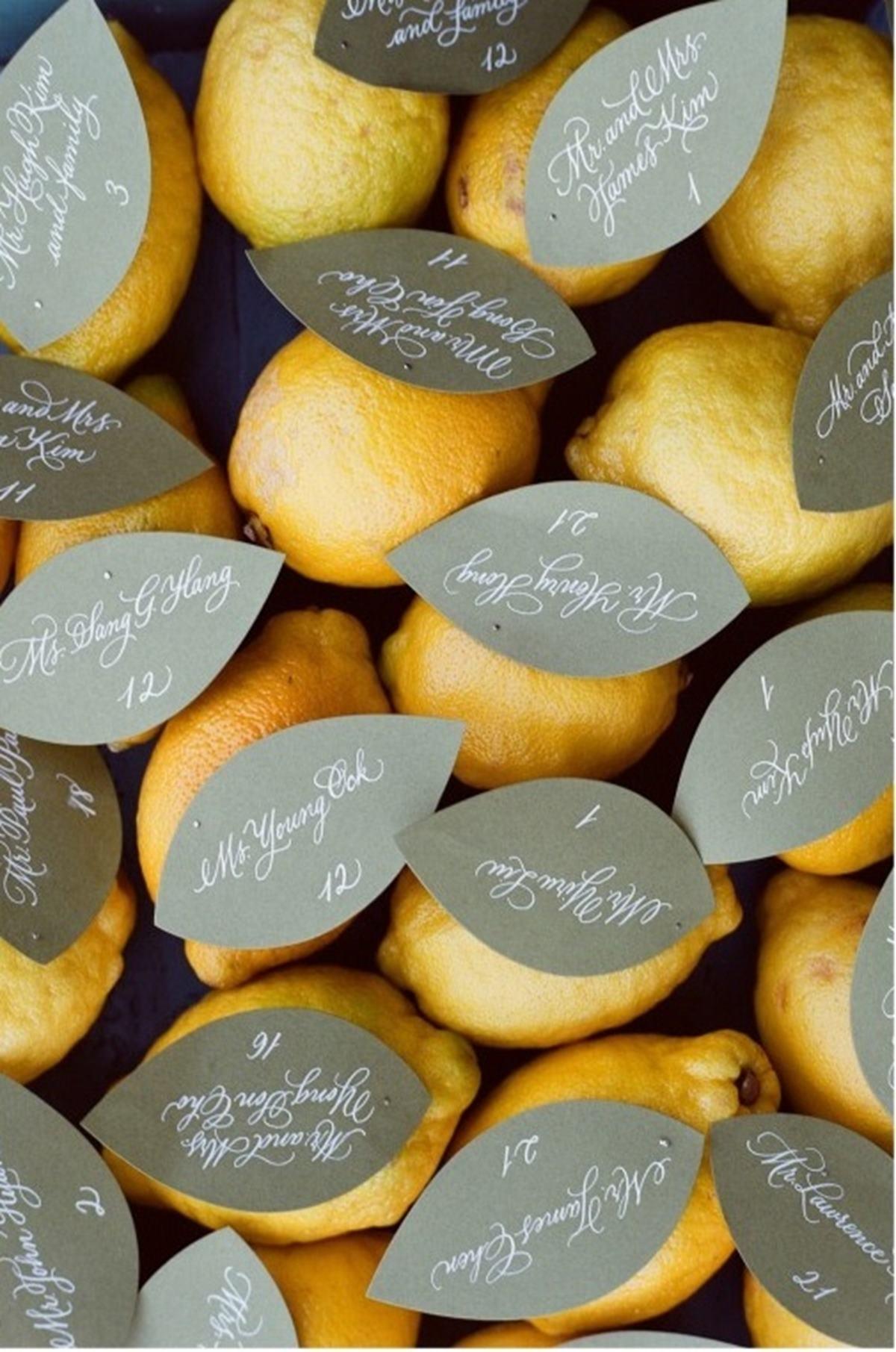 Lemons with named paper leaves