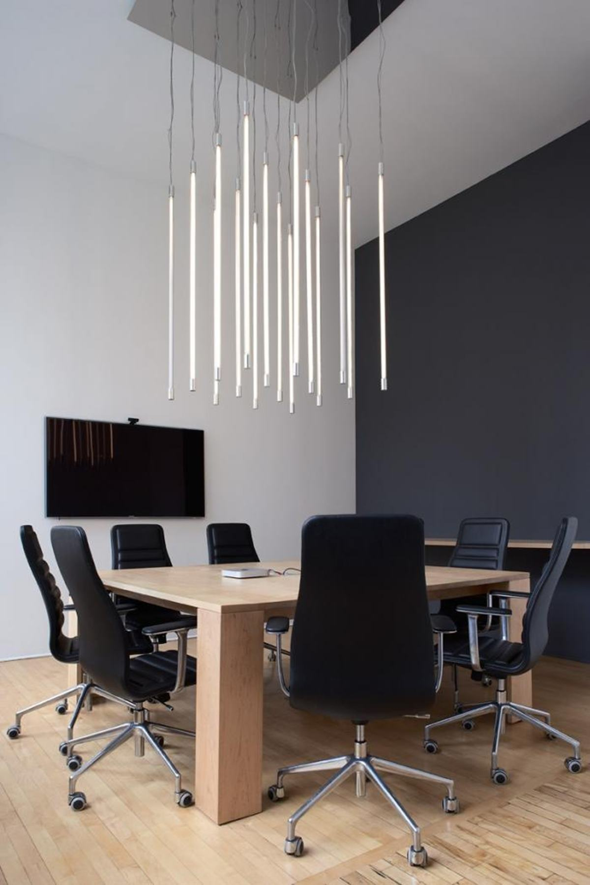 This light-tube lit boardroom