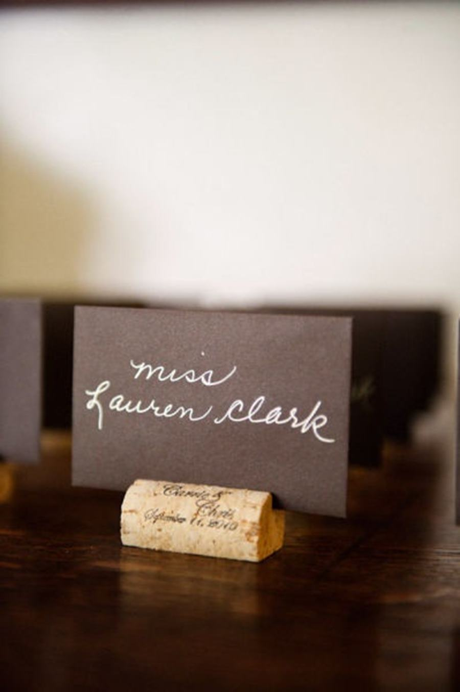 Personalised cork name card holders